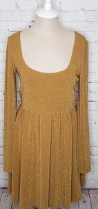 Free People Dress Metallic Gold Scoop Neck Large